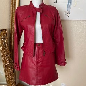 Thalia Sodi Red Leather Moro Jacket & Skirt